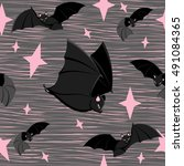 seamless pattern with bats... | Shutterstock .eps vector #491084365