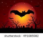 halloween night background with ... | Shutterstock .eps vector #491085082