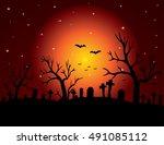 halloween night background with ... | Shutterstock .eps vector #491085112