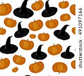 halloween seamless pattern.... | Shutterstock .eps vector #491097166