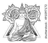 sitting buddha over ornate rose ... | Shutterstock .eps vector #491097172
