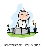 thinking about goals in life. a ... | Shutterstock .eps vector #491097856