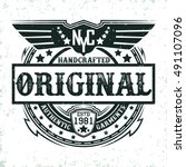 vintage label of  handcrafted... | Shutterstock .eps vector #491107096