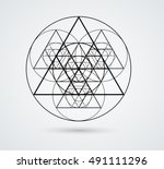 triangles and circles design... | Shutterstock .eps vector #491111296