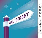 abstract wall street arrow sign.... | Shutterstock .eps vector #491112112
