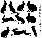 rabbit silhouettes on the white ... | Shutterstock .eps vector #491113465