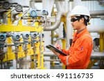 operator recording operation of ... | Shutterstock . vector #491116735