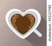 heart coffee   illustration of... | Shutterstock .eps vector #491117482