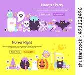 monster party trendy website... | Shutterstock .eps vector #491121496
