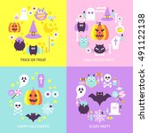 halloween trendy concepts set.... | Shutterstock .eps vector #491122138
