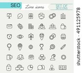 set of seo linear style icons... | Shutterstock .eps vector #491125978