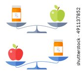 apple and a cure on a scales....   Shutterstock .eps vector #491137852
