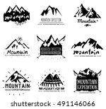 mountain retro logo and... | Shutterstock .eps vector #491146066