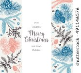 christmas greeting card or... | Shutterstock .eps vector #491146576