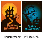 set of halloween vertical... | Shutterstock .eps vector #491150026
