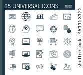 universal icons set of mixed... | Shutterstock .eps vector #491153122