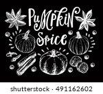 hand lettering pumpkin spice... | Shutterstock .eps vector #491162602