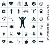 health icon set | Shutterstock .eps vector #491166766