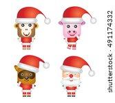 santa claus character animals   ... | Shutterstock .eps vector #491174332