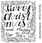 merry christmas and happy new...   Shutterstock .eps vector #491176756