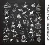 chalkboard christmas doodles set   Shutterstock .eps vector #491178412