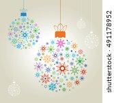 christmas balls   illustration | Shutterstock .eps vector #491178952
