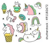 set of stickers  pins  patches... | Shutterstock .eps vector #491182672