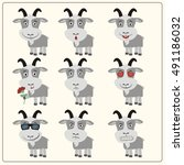 vector set isolated emotion... | Shutterstock .eps vector #491186032