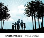 silhouette of a family walking | Shutterstock .eps vector #49118953