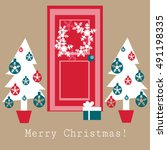 christmas vector greeting card  | Shutterstock .eps vector #491198335
