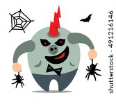halloween monster  catcher... | Shutterstock .eps vector #491216146