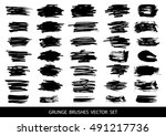set of black paint  ink  grunge ... | Shutterstock .eps vector #491217736