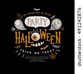 happy halloween lettering.... | Shutterstock .eps vector #491242876