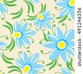 floral vintage blue seamless... | Shutterstock .eps vector #491246356
