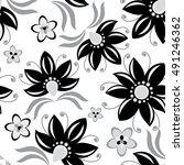 floral vintage black seamless... | Shutterstock .eps vector #491246362