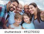 portrait of happy multi... | Shutterstock . vector #491270332
