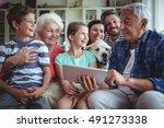 happy multi generation family... | Shutterstock . vector #491273338