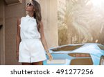 wealthy woman in elegant... | Shutterstock . vector #491277256