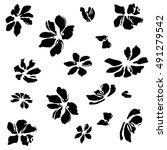 floral black background | Shutterstock .eps vector #491279542