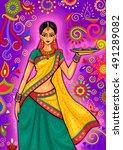 vector design of indian woman... | Shutterstock .eps vector #491289082