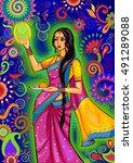 vector design of indian woman...   Shutterstock .eps vector #491289088