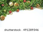 christmas decoration with pine... | Shutterstock . vector #491289346