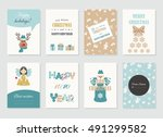 cute christmas cards templates... | Shutterstock .eps vector #491299582