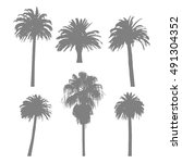 set of palm tree silhouettes on ... | Shutterstock .eps vector #491304352