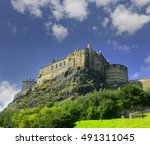 old castle of edinburgh in... | Shutterstock . vector #491311045