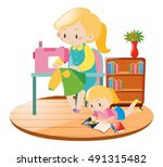 mother sewing and kid reading... | Shutterstock .eps vector #491315482