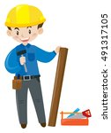 construction worker with... | Shutterstock .eps vector #491317105