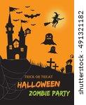 happy halloween poster. vector... | Shutterstock .eps vector #491321182