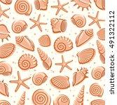 seashells background. vector | Shutterstock .eps vector #491322112
