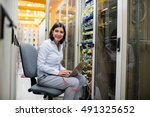 portrait of technician working... | Shutterstock . vector #491325652